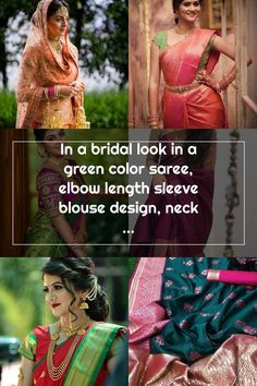 In a bridal look in a green color saree, elbow length sleeve blouse design, necklace, long chain, hip chain, head piece / maang tikka and gold jewelry Wedding Sarees, Head Piece, Bridal Looks, Green Colors, Blouse Designs, Gold Jewelry, That Look, Chain, Sleeve