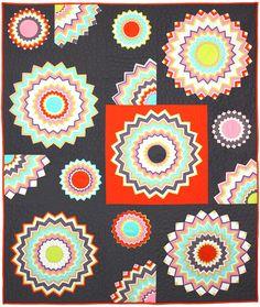 Chevron Kaleidoscope quilt, free pattern at Michael Miller Fabrics as seen at Quilt Inspiration Modern Quilt Patterns, Quilt Block Patterns, Quilt Blocks, Sewing Patterns, Michael Miller, Dresden Plate Quilts, Kaleidoscope Quilt, Chevron Quilt, Chevron Fabric