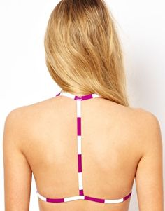 Image 1 of ASOS Mix and Match Stripe Moulded Triangle T Back Bikini Top.