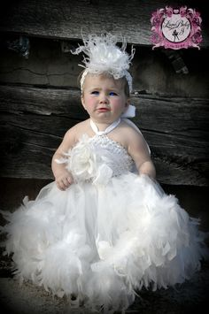 flower girl tutu dress feathers | Here Comes The Bride.. A Double layer Feather Tutu Dress - $138.00 ...