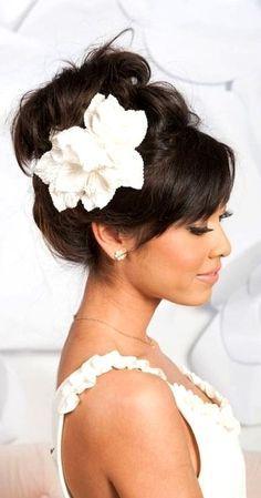 Cute High Bun Floral Bridal Hairstyle