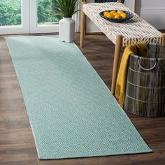 Safavieh Hand-Woven Montauk Flatweave Ivory/ Aqua Cotton Runner - x Aqua Rug, Aqua Area Rug, Small Beach Cottages, Where To Buy Carpet, Beach Cottage Decor, Home Decor Outlet, Online Home Decor Stores, Colorful Rugs, Rug Size
