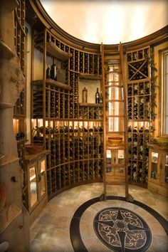 Small wine cellar.  Like floor detail and lit dome.
