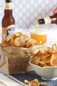 Super easy Salt and Vinegar Potato Chips recipe made with just three ingredients. Totally addicting.