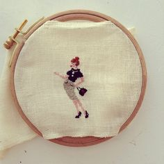 Parisienne #embroidery #crossstitch #handmade by Brin de fantaisie on Flickr.