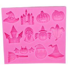 Venda quente halloween witch pumpkin hat bat vassoura do castelo molde de silicone fondant diy ferramentas de decoração do bolo e586 em   de   no AliExpress.com | Alibaba Group