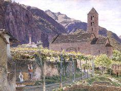 George Price Boyce - Outside the Church of San Nicolo da Mira, Giornico, italy, 1856