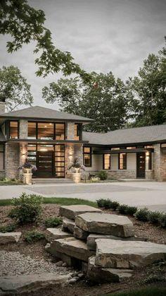 Dream House Exterior, Dream House Plans, House Ideas Exterior, Modern House Plans, Modern Houses, Modern Castle, Modern Family House, Modern Buildings, Stone Veneer Exterior