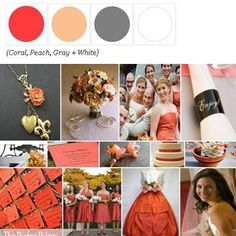Coral, peach, gray & white. Color Inspiration