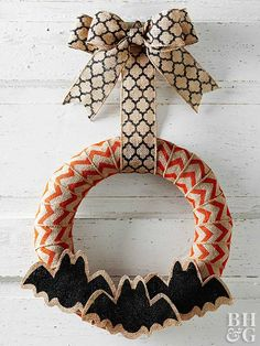 For the perfect blend of chic and chilling, opt for this burlap bat wreath.