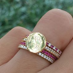 Add our NEW Monogrammed Rhinestone Fashion Ring to your stack! // Marleylilly.com