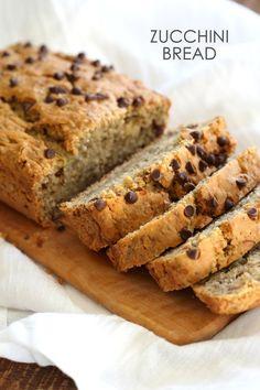 Vegan nutfree recipe jump to recipe. vegan zucchini bread slices on white napkin , side view Vegan Zucchini Recipes, Zucchini Banana Bread, Chocolate Zucchini Bread, Chocolate Chips, Cooking Zucchini, Healthy Zucchini Bread, Vegan Zucchini Muffins, Vegan Chocolate, Vegan Sweets