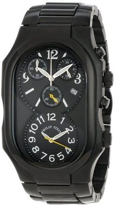 Philip Stein Men's 3B-NBY-SSBP Signature Black Plated Chronograph Black Plated Stainless Steel Bracelet Watch - http://yourperfectwatch.com/philip-stein-mens-3b-nby-ssbp-signature-black-plated-chronograph-black-plated-stainless-steel-bracelet-watch/