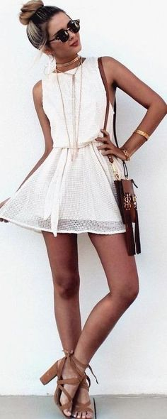 #summer #warm #weather #outfitideas |  White Mesh Dress