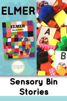 Explore the sweet story Elmer by David McKee with this sensory bin and task cards! Students will use the cards to build words, create a mentor sentence from the read aloud, and read sight words and story vocabulary. Math tasks and sorting mats are also included! #elmer #sensorybins