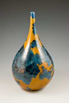 Crystalline Glazed Porcelain Bottle: Topaz by MarieWrightPottery