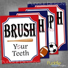 Sports Bathroom Printables by PuddleDesign on Etsy, $18.00
