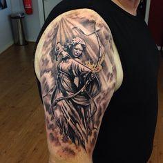 My Sagittarius Tattoo done by Adem at Fat Fugu Tattoo in Northampton.