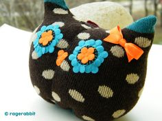 Free Shipping Handmade Owl Sock Stuffed Toy Home Decor Soft Doll Baby Birthday Gift Unique Design by RageRabbit on Etsy