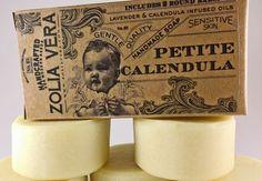 Calendula & Lavender infused soap. 2 mini bars in a beautiful vintage gift box. Perfect for sensitive skin, including babies!! Zoliavera.etsy.com #babysoap #soapgift