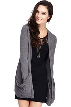 ROMWE | Loose Buttonless Pocketed Dark-grey Cardigan, The Latest Street Fashion