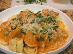 Roasted Butternut Squash Sauce Over Tortellini, via YouTube.