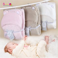 Free Shipping Solid Color Baby Poncho Shawl Coat Cloak Children Cartoon Coral Fleece Blankets Hooded Bath Towel Newborn Blankets