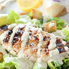 Grilled Chicken Caesar Salad for a yummy summertime lunch or dinner! With a simple yogurt marinade recipe, this grilled chicken is tender and delicious. Served over romaine lettuce, homemade croutons, shaved parmesan and caesar dressing - YUM! Summer Grill Recipes, Grilling Recipes, Grilled Chicken Ceasar Salad, Chicken Salad, Pasta Salad, Best Chicken Marinade, Grilled Pork Chops, How To Cook Chicken, Salad Recipes