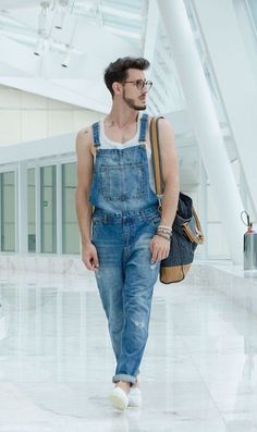Denim Dungaree/Overall styled with White Tank Top which is too comfy to wear it the whole day
