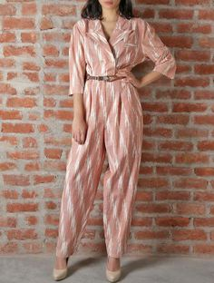 Flesh Off White Ikat Cotton Leather Jumpsuit Leather Jumpsuit, Jumpsuit Dressy, Cotton Jumpsuit, Jumpsuit Outfit, Jumpsuit For Kids, Fall Fashion Outfits, Fashion Pants, Kalamkari Dresses, Office Outfits Women