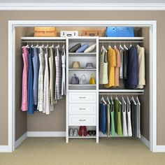 ClosetMaid Impressions 14.57 in. D x 120 in. W x 83 in. H White Laminate Basic Plus Closet System-53862 - The Home Depot