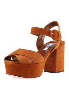a133b76a59d5 Suede Platform Ankle-Strap Sandal. Block Heel ...
