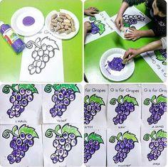 G is for grape painting Alphabet Activities Kindergarten, Craft Activities, Preschool Crafts, Bible Story Crafts, Bible School Crafts, Fruit Crafts, Food Crafts, Toddler Art, Toddler Crafts