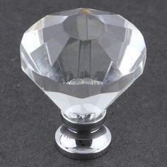 """Diamond Cut Glass Knob - 1-1/4"""""""