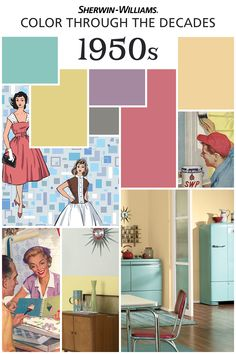 For our 150th anniversary, we're celebrating the palettes of some of the most memorable decades, like the 1950s. The exuberant post-war boom was a mix of styles, including mid century modern and Scandinavian. Soft pastels like lilac and chartreuse were all the rage, with pink and turquoise appliances in the kitchen and laundry. Want this throwback flair in your home? Try  Chartreuse SW 0073, Radiant Lilac SW 0074, Holiday Turquoise SW 0075 and Sunbeam Yellow SW 0078.