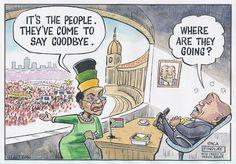 """The People have come to say goodbye"", Baleka tells Zuma in Findlay's cartoon"