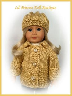 Hand Knitted Sweater and Hat Set, Made For American Girl Dolls, Autumn Maize, 18 inch Doll Clothes. $25.00, via Etsy.