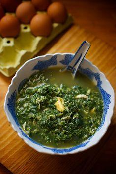 Sopa de huevos y espinacas, receta china con Thermomix