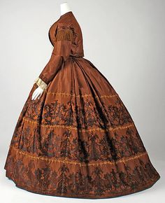whenasinsilks:    Skirt and jacket, silk, 1860-65, American.