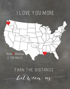 Customized Long Distance Relationship Map that I bought for Knox via Etsy <3