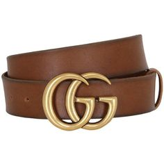 Gucci Women 40mm Gg Leather Belt ($490) ❤ liked on Polyvore featuring accessories, belts, brown, brown leather belt, adjustable leather belt, leather buckle belt, logo belts and brown buckle belt