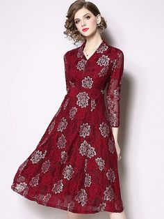 Floral Embroidery Lace V-Neck Long Sleeve A-Line Midi Dress