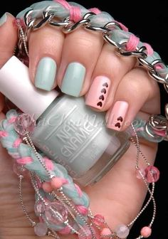 Mint and Pink  | See more at http://www.nailsss.com/colorful-nail-designs/2/