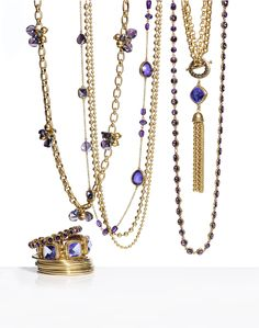 Unstoppable Sparkle: We've taken a shine to shimmering lavender gems in gold. #Jewelry #WildAbout30 #chicos