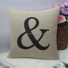 1 Cotton Linen Black Modern Simple Decorative Pillow Cover Cushion Case 18"
