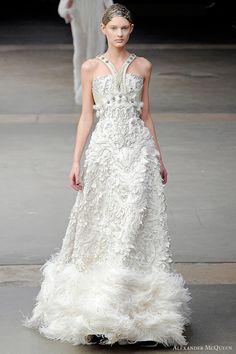 McQueen Wedding Dress, Fall 2011. Model: Patricia van der Vliet