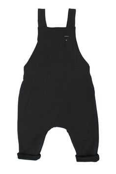 """Gray Label Nearly Black Salopette Dungarees: Dubbed 2015's """"The pant of the year"""" they are back in stock, and this time with adjustable straps - a must have item for your tot's new year wardrobe. Slick, minimal, chic and unique; everything we look for in a garment. And as always with Gray Label, so, so soft. Made from organic cotton with adjustable straps."""