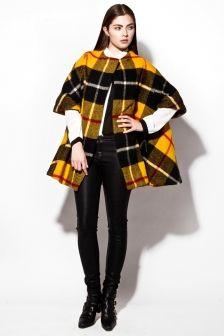 Vintage 1960s Wool Plaid Cape Coat http://thriftedandmodern.com/vintage-1960s-yellow-plaid-wool-cape-coat