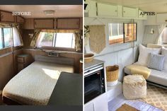 A savvy mum has breathed life into an old 1987 Prattline caravan with a stunning makeover using Kmart homewares. Caravan Makeover, Caravan Renovation, Viscount Caravan, Retro Caravan, Caravan Decor, Caravan Ideas, Buy A Tiny House, Interior Fit Out, Makeover Before And After