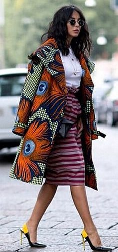 Best Street Style at Fashion Week Spring 2015 African Inspired Fashion, African Print Fashion, Africa Fashion, Ethnic Fashion, Fashion Prints, Fashion Design, Fashion Styles, African Attire, African Wear